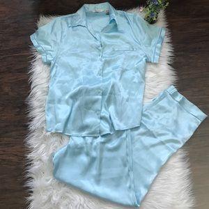 NWOT Delicates Light Blue Satin Pajama Set